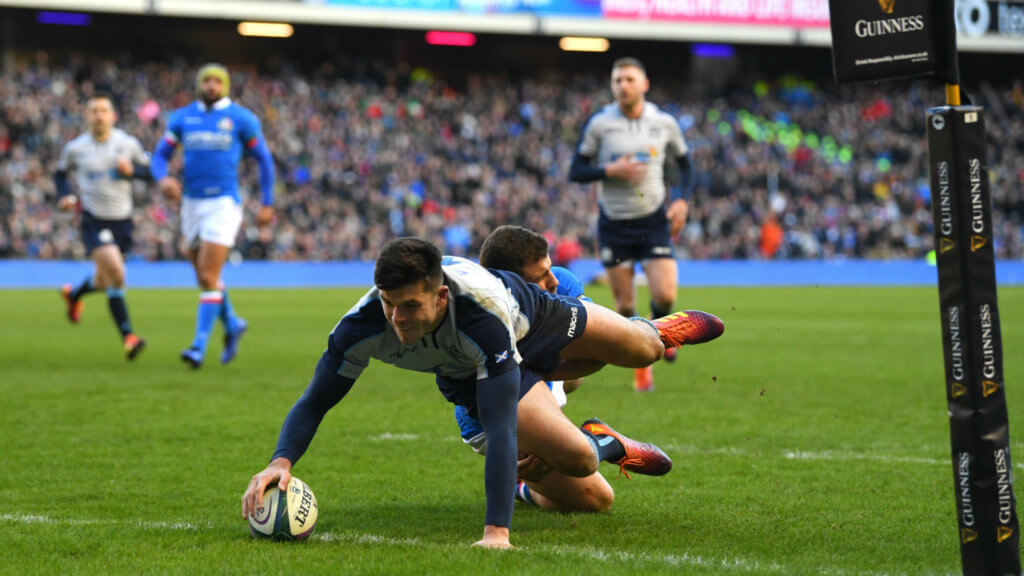 Italy set unwanted record as Kinghorn claims hat-trick for Scotland